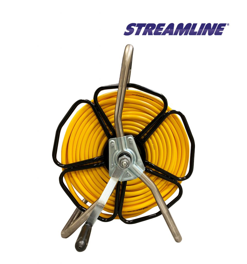 Freestanding Robust HRM2 Stainless Steel Hose Reel complete with 8mm Minibore Hose