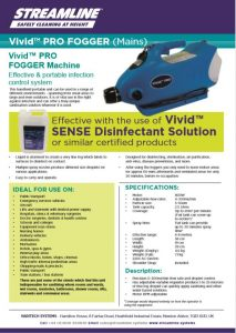 Vivid™ PRO FOGGER (mains powered) Specification Sheet.